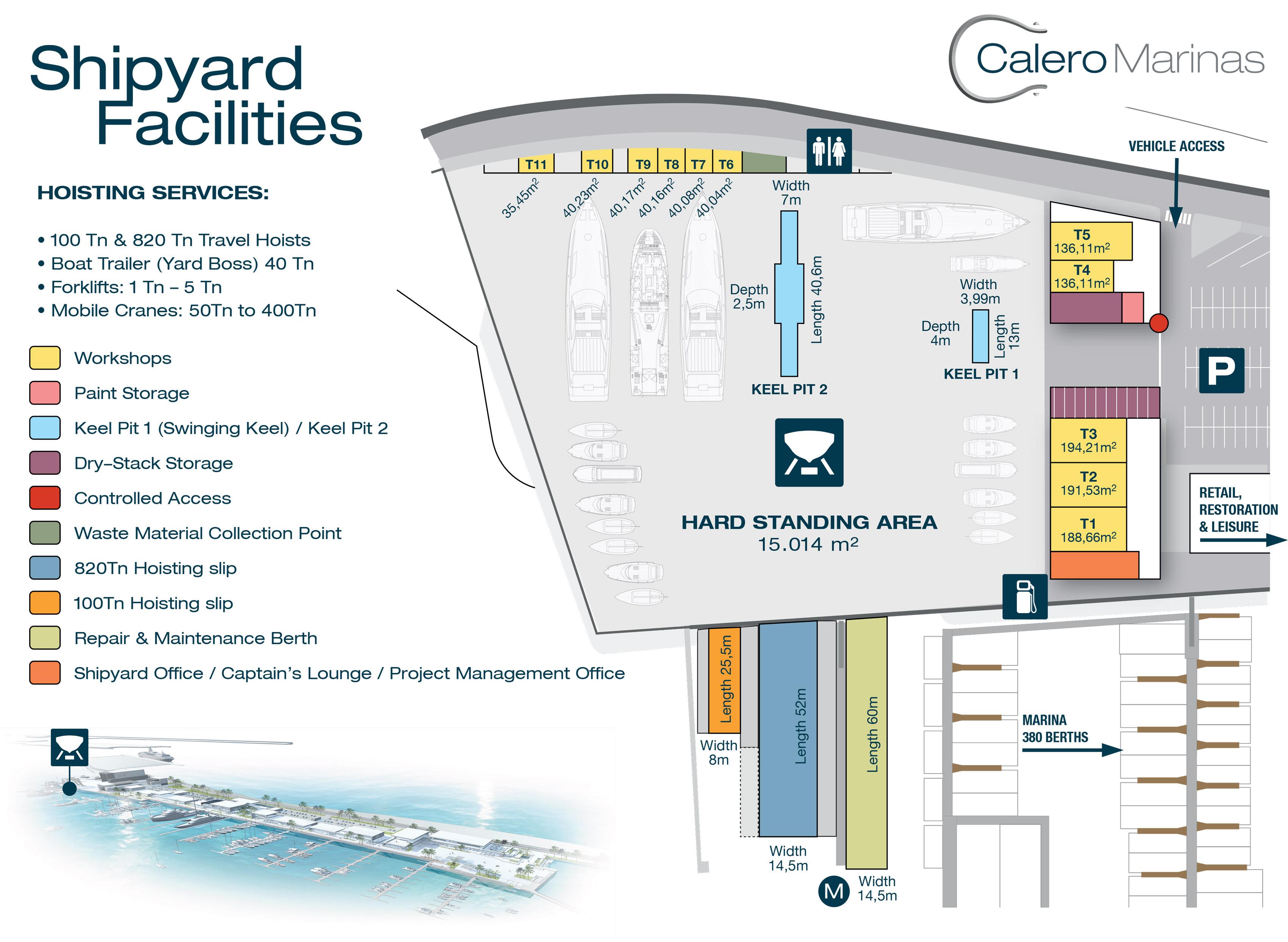 Map of the Shipyard Facilities at Caleros Marinas