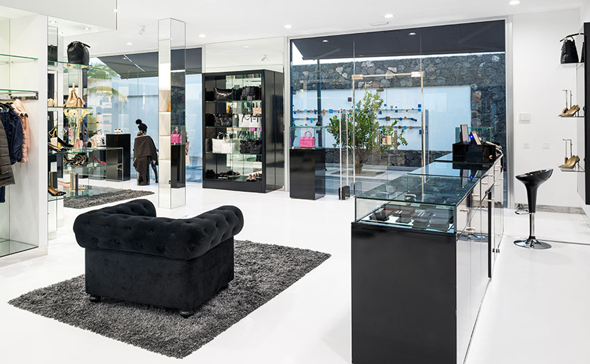 Modern black and white store with sleek finishes.