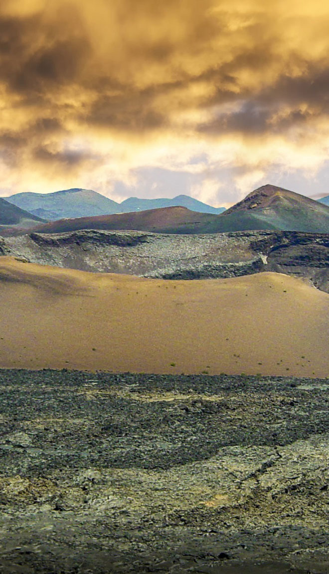 Ominous and surreal image of the Volcanic region of Lanzarote